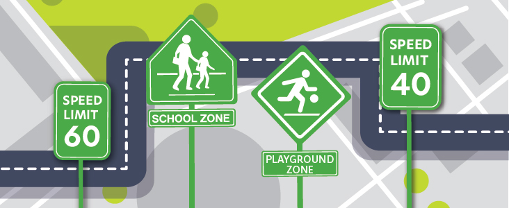 graphic showing map and traffic signs