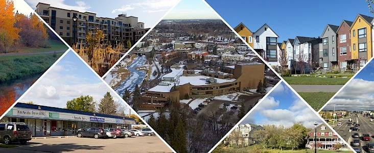A collage of various development projects around the city