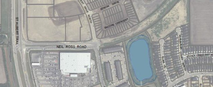 Overhead view of Neil Ross Road
