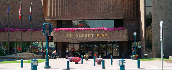 The front entrance of St. Albert Place, also known as St. Albert's City Hall