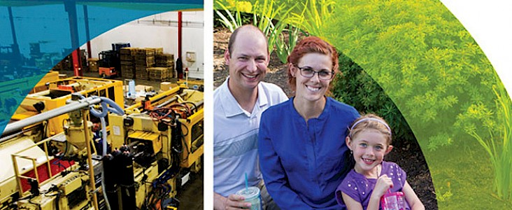 A collage showing a Public Works facility and a smiling family in a park.