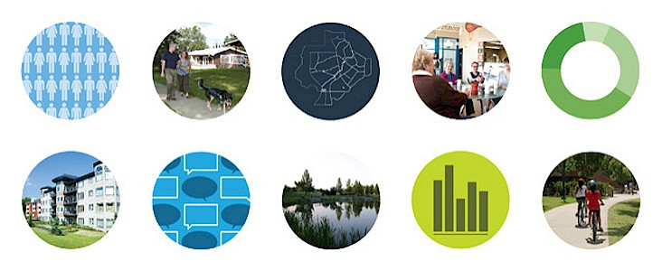10 circles showing various graphs, maps and locations around the city.