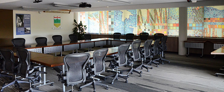 An image of the Cardinal Douglas Board Room where many committee meetings take place.