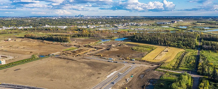 Aerial view of undeveloped community of Riverside in St. Albert