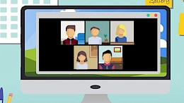 Computer with online meeting on screen