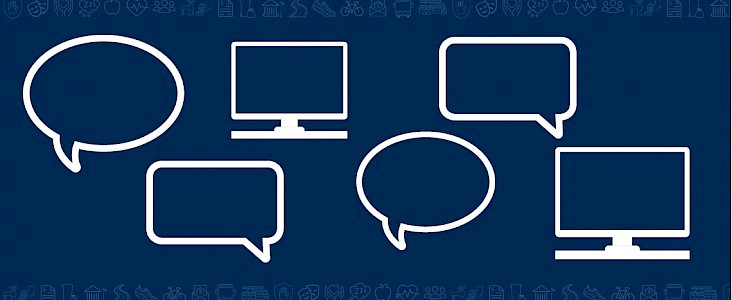 graphic of speech bubbles and computer