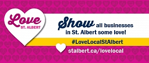 Love St. Albert logo with slogan: Show all businesses in St. Albert some love!