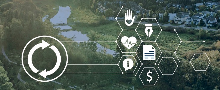 A collage of Recovery-related icons overlaid upon a photo of the river valley