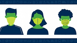 Illustration of people wearing different types of face covering