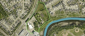 2020 aerial image of the lots being developed as Riverbank Landing.