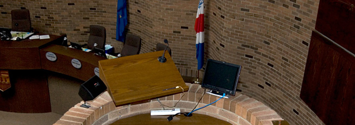 Showing the podium from which members of the public can address City Council