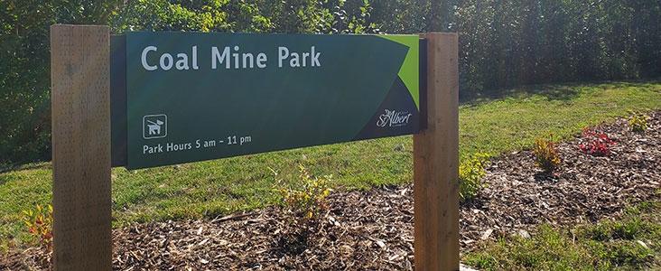 Entrance sign to Coal Mine Park in Saint Albert, Alberta