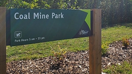 Entrance sign to Coal Mine Park in Saint Albert, Alberta
