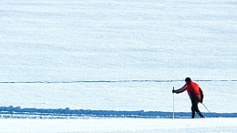 Person cross country skiing