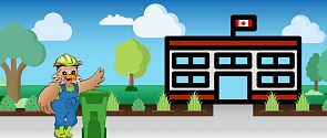 Wiser the minimizer owl in front of school with a green organics cart