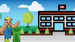 Wise the Owl stands in front of a school with a Green Organics Cart