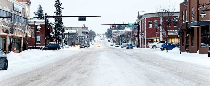 Snowy road in downtown
