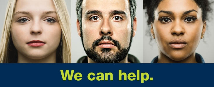 Three faces with the words: we can help