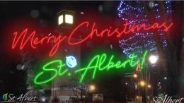 2020 Tree lighting ceremony in downtown St. Albert, Perron district