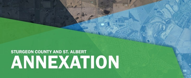 A land annexation graphic showing an aerial view of St. albert and Sturgeon County