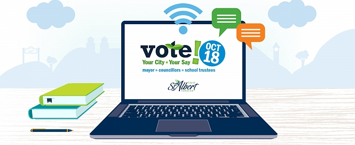 Graphic of laptop with the words Vote, October 18, Your City, Your Say, Mayor, Councillor, School Trustees