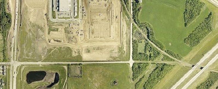Aerial view on St. Albert and Edmonton along Anthony Henday Drive