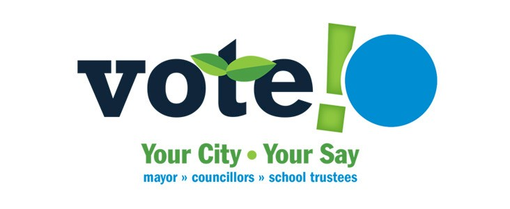 """A stylized 'Vote' logo with the slogan """"Your city, your say""""."""