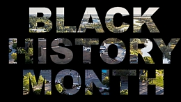 Black background with words reading black history month overlay on top of an image of St. Albert Place.