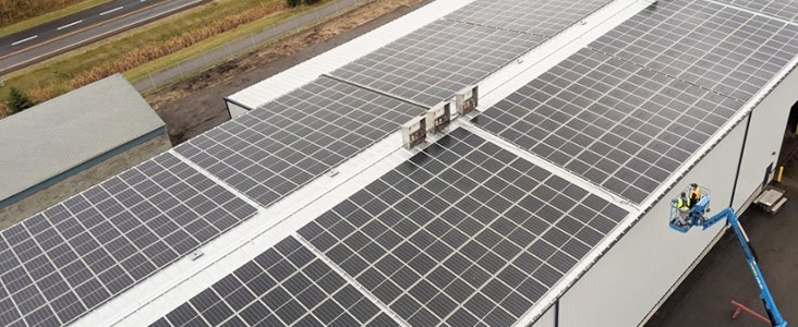 Aerial view of the Public Works Building Solar Array