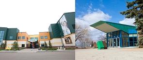 Servus Credit Union Place Entrance and Fountain Park Entrance