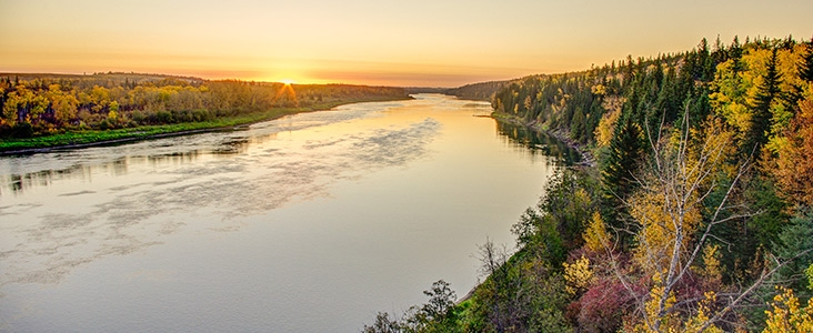 North Saskatchewan River during a fall sunset