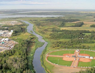 An aerial view of the Meadowview Ball Diamonds