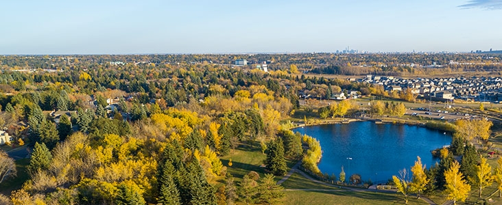Aerial view of St. Albert's tree cover facing South from Lacombe Lake Park