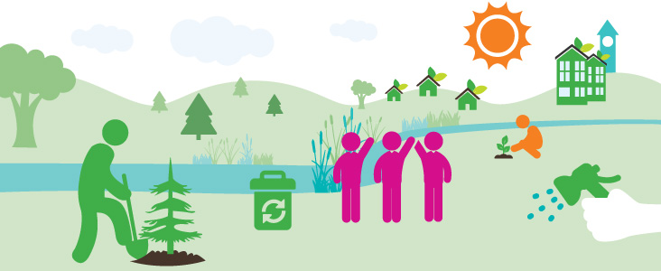 An illustration of volunteers planting along the Sturgeon River
