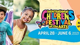Two different pictures of children smiling, combined with the Children's Festival logo and event dates