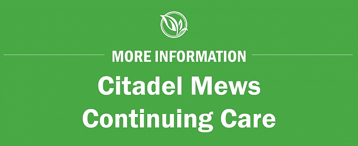 green background with white text that reads Citadel Mews Continuing Care