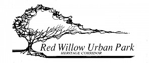 An illustrated tree with the words Red Willow Urban Park Heritage Corridor