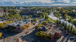 Aerial view of downtown St. Albert in the summer.