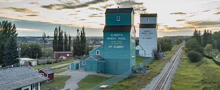 Aerial view of St. Albert grain elevators and train tracks.