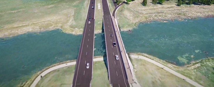 Aerial rendering of the Ray Gibbon Drive bridge