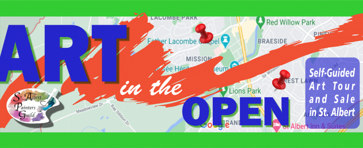 """The words """"Art in the Open"""" are written across a map of St. Albert"""
