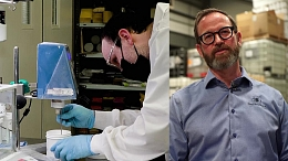 Collage image of a chemist and the owner of Quantum Chemicals.