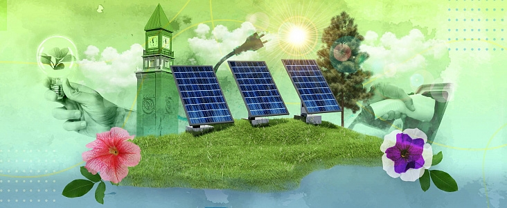 photo collage of solar panels, sun, flowers, EV charger