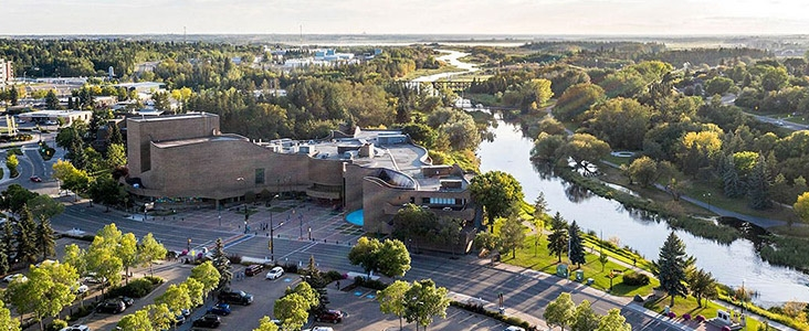 Aerial view of St. Albert Place and the Sturgeon River