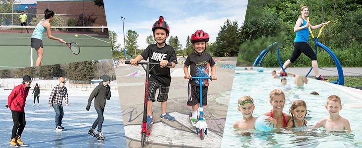 collage of people doing activities like skating biking swimming tennis and aerobics