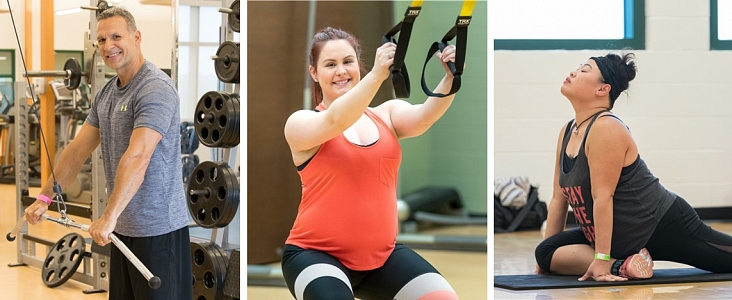 Collage of individuals working out at Servus Place