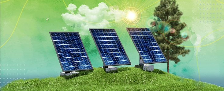 Solar panels in grass with sun and sky
