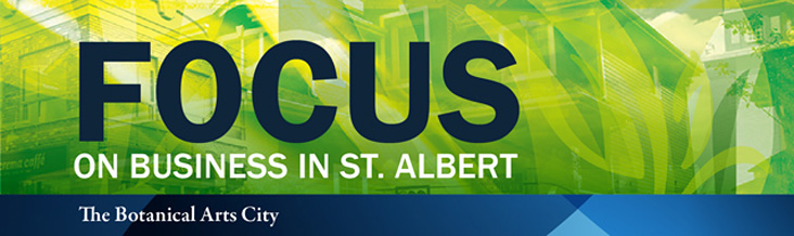 A graphical image showing the Focus on Business In St. Albert logo