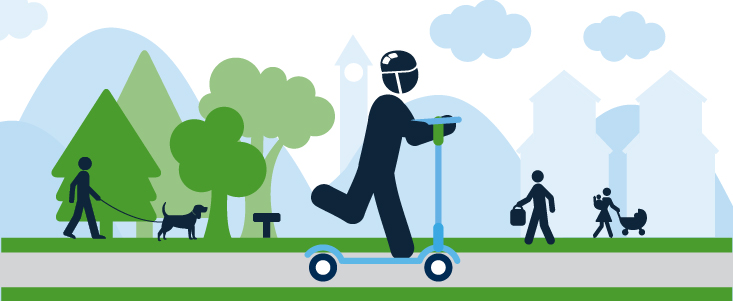 An illustration of a helmeted child riding a scooter through a park