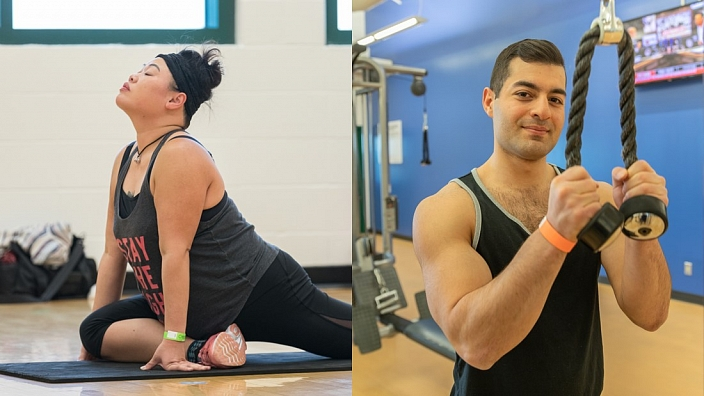 Two images showing a woman stretching and a man lifting weights at Servus Place.